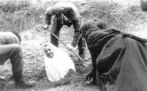 Woman being prepared for stoning in Iran