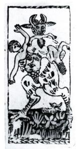 antique devil tarot card