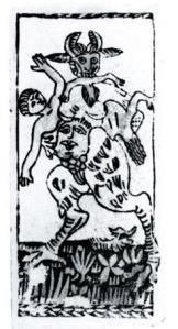 antique devil tarot card