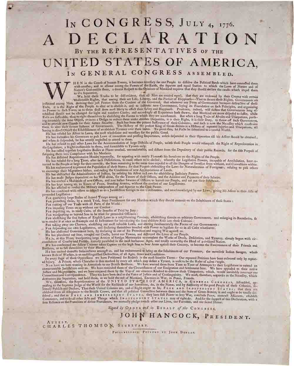 an introduction to the declaration of independence and the history of the united states A short summary of thomas jefferson's the declaration of independence (1776)   the reasons the british colonies of north america sought independence in july  of 1776 the declaration opens with a preamble describing the document's  necessity  in this case, a long history of abuses has led the colonists to  overthrow a.