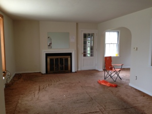 Living room with manky old carpet
